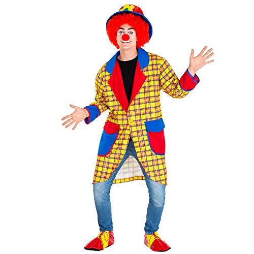 dressforfun Costume da Uomo - Clown Fridolin | Lungo e Variopinto Cappotto | Buffe Scarpe da Clown Stringate | incl. Naso da Pagliaccio Extra (XL | No. 300785)