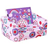 MallBest Kids Sofas Children's Sofa Bed Baby's Upholstered Couch Sleepover Chair Flipout Open Recliner (Pink/Flowers)