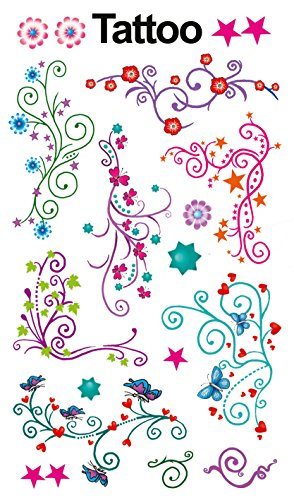 AVERY Zweckform 56749 Tattoo Kinder 7 Stück (Temporäre Tattoos Blumen, Kinder Tattoo wasserfest, Klebetattoos, Kindergeburtstag, Mitgebsel, Partyspiele Preise, Kinder zum Spielen, Tattoo Mädchen)