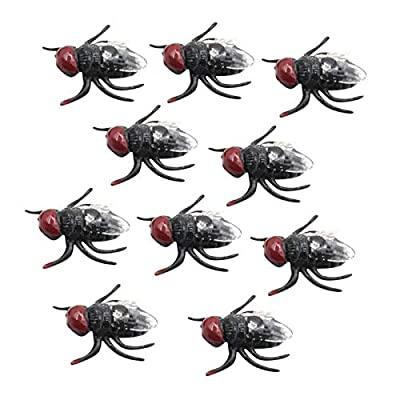 10 Pcs Plastic Flies Toy Novelty Lifelike Plastic Fake Fly Kidding Prank Flies Realistic Insects Gag Joke Gifts for April Fool Halloween and Party Prop