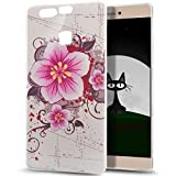 Huawei P9 caso, Huawei P9 magmle, arte cristalino ikasus rasguñar-resistente xeptio serie de marco Flexible silicona carcasa de goma para Huawei P9 Pink Flower