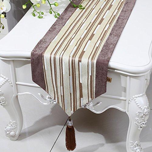 ZCJB Chemin de table Chemin De Table Simple Moderne Classique Chenille Stripe Coton Et Lin Table Table Lit Drapeau Table Basse Tapis (Couleur : Jaune clair, taille : 33x150cm)