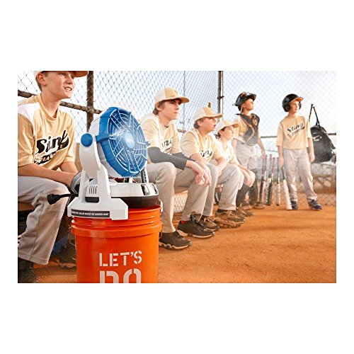 Arctic Cove MBF0181 18-Volt Bucket Top Misting Fan with 2 Speeds and Quiet Performance Pump (Battery and Charger Included)