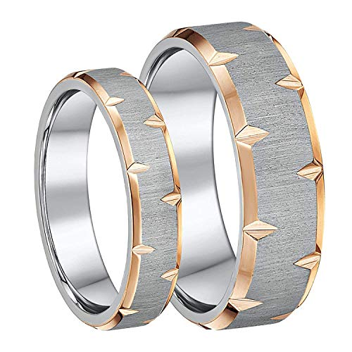 Ladies & Men's Matching Couples Wedding Rings Titanium Two Colour IP Rose Gold 5&7mm His & Hers Bands