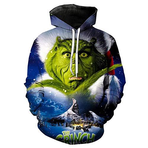 3D Hoodie Green Monster Print Paare Pullover Mit Stehkragen Sweatshirt Langarm-Kapuzenshirt Hoodie-Loser T-Shirt-zufällige Spitze Sportswear Baseball-Trikot Hoodie-XL