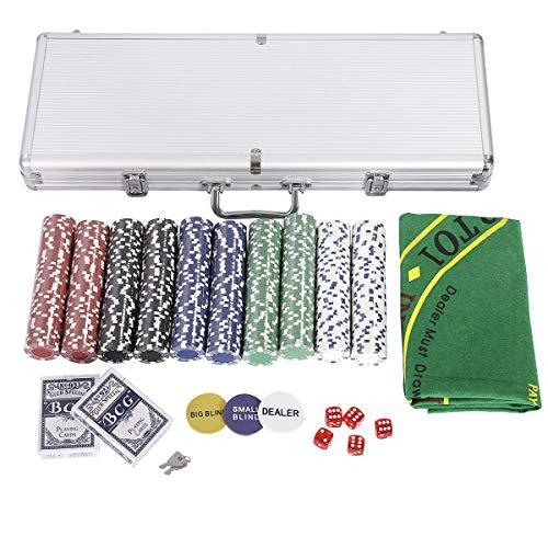 COSTWAY Pokerset mit 500 Laser-Chips | Pokerkoffer Alu | Pokerchips | Poker Komplett Set | Pokerkoffer mit Tuch /2 Pokerdecks