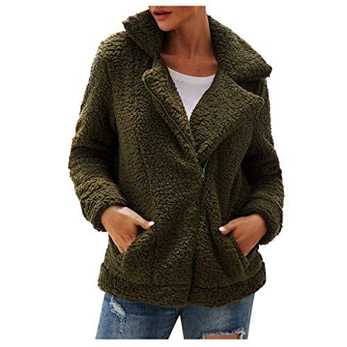 BOLANQ Mantel Jacke Coat Outwear Sweatshirt Parka Hoodie, Womens Revers Zip Up Kunstpelz Shearling Fuzzy Fleece Jacke Teddybär Mantel warm(X-Large,Armeegrün)
