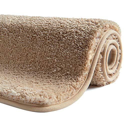 SFLXO Alfombrilla de baño antideslizante lavable a máquina antideslizante Alfombrilla de baño suave absorbente de agua Alfombra de baño mullida microfibra, microfibra, beige, 50 x 80 cm