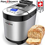 Pohl Schmitt Stainless Steel Bread Machine, 2LB 17-in-1, 14 Settings Incl Gluten Free & Fruit, Nut Dispenser, Nonstick Pan, 3 Loaf Sizes 3 Crust Colors, Keep Warm, and Recipes