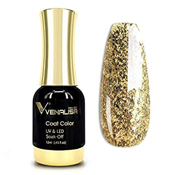VENALISA Gel Nail Polish 12ml Gold Glitter Color Soak Off UV LED Nail Gel Polish Nail Art Starter Manicure Salon DIY at Home 0.43 OZ
