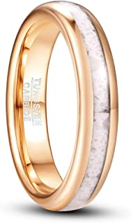 VAKKI 4mm Marble Tungsten Ring for Women Rose Gold Plated Wedding Band Comfort Fit Size 5-10