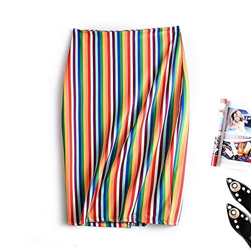 Midi Rok Vrouwen Stripes kokerrok Womens hoge taille Terug Zipper Print Rokken Femme faldas JIUTAO