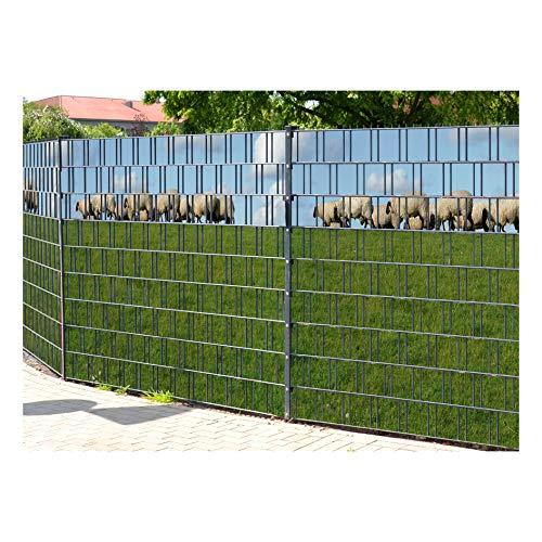 PerfectHD Zaunsichtschutz - Efeu Zaun - Motiv Ameland - Sichtschutz für den Garten - 2,50 x 1,80 x 0,19 m - 9 Streifen - 30 Varianten