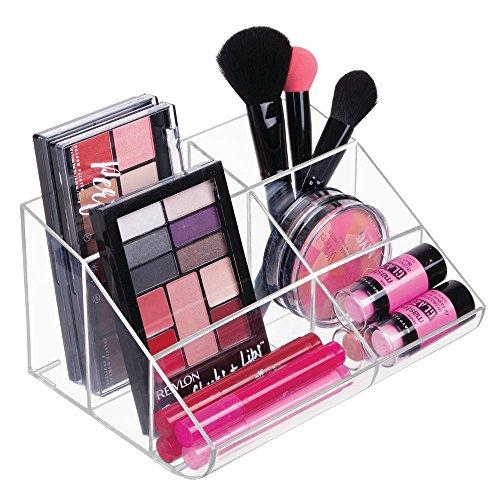 mDesign Organizador de Maquillaje – Caja Transparente con 6 Compartimentos - Ideal para Guardar Maquillaje y cosméticos, como Organizador de labiales, etc. – Plástico Transparente