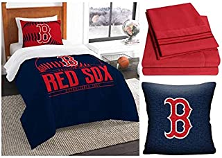 Northwest MLB Boston Red Sox Grand Slam 6pc Twin Bedding Set - Includes Comforter, sham, Flat Sheet, Fitted Sheet, Pillowcase, and Pillow