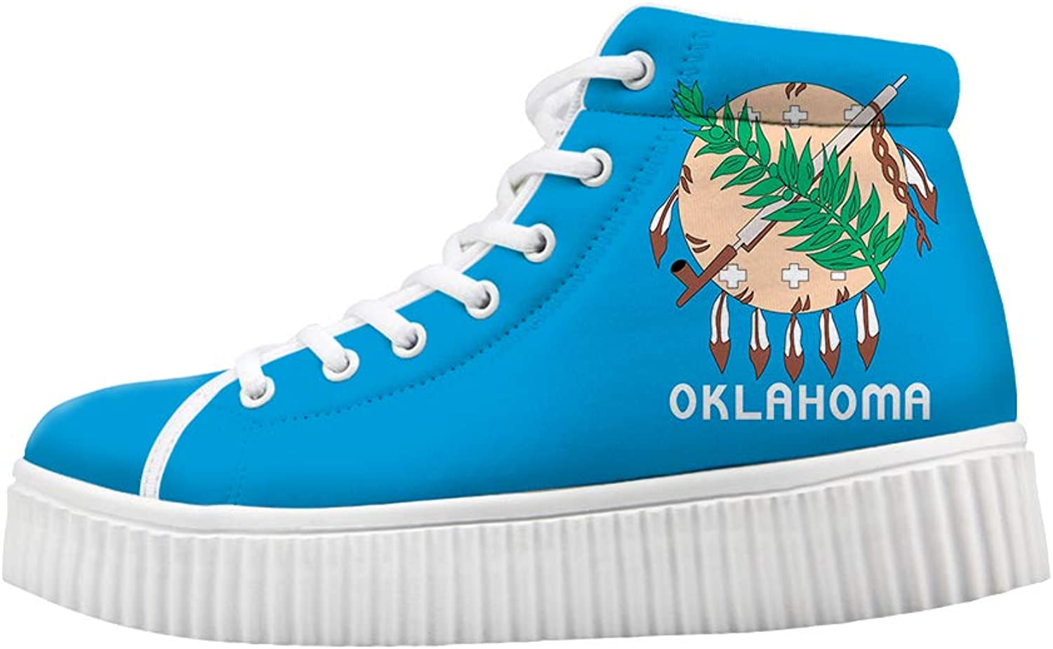 Platform Lace up Sneaker Casual Chunky Walking shoes High Top Women Indian Tribal Sooner State Oklahoma Flag