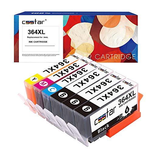 CSSTAR Compatible Cartuchos de Tinta Reemplazo para HP 364 XL 364XL para Photosmart 5520 5510 5515 6520 6510 5524 Plus B210a DeskJet 3070A 3520 OfficeJet 4620 Impresora - Negro Cian Magenta Amarillo