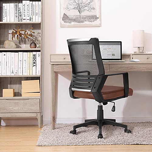 Yaheetech Mid Back Mesh Chair w/Leather Seat Executive Office Chair Computer Task Chair with Armrests Ergonomic Desk Chair with Lumbar Support, Brown