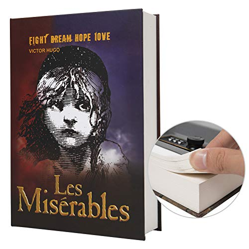 Real Paper Transfer Book Safe for Jewelry, Money and Cash, Hollow with Hidden Compartment,Key and Combination Lock (Les Miserables-Combination)