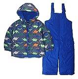 LONDON FOG Boys' Toddler 2-Piece Snow Bib & Jacket Snowsuit (4T, Royal Dino)
