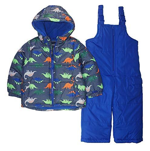 LONDON FOG Boys' Toddler 2-Piece Snow Bib & Jacket Snowsuit (5-6, Royal Dino)