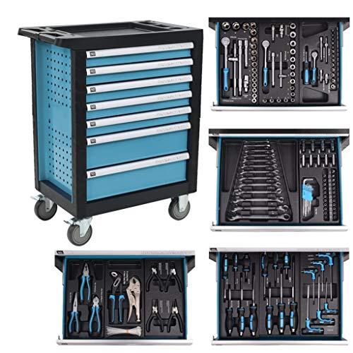 vidaXL Gereedschapstrolley 270 Gereedschappen Staal Blauw Gereedschapswagen