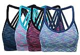 ohlyah Women's Wire Free Padded Sports Bra Racerback Yoga Bras Pack of 4 Blue Pink Purple Green M