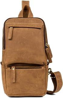 Shoulder Bag - Vintage Leather Handmade Chest Pocket, Handmade Rubbing/Casual Messenger Bag/Clothing/Large Capacity/Brown 31 * 19 * 9CM Cool