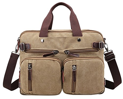 PB-SOAR 4-in-1 Herren Damen Vintage Canvas Multifunktionale Aktentasche Arbeitstasche Rucksack Umhängetasche Messenger Bag Laptoptasche Wickeltasche Vielseitige Tasche (Khaki)