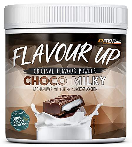 FLAVOUR UP | Geschmackspulver mit Chocolate Milky Flavour | nur 12 kcal pro Portion | Leckerer Geschmack und Süße | Für Lebensmittel und Getränke | 280g Flavour Powder | Made in Germany | ProFuel