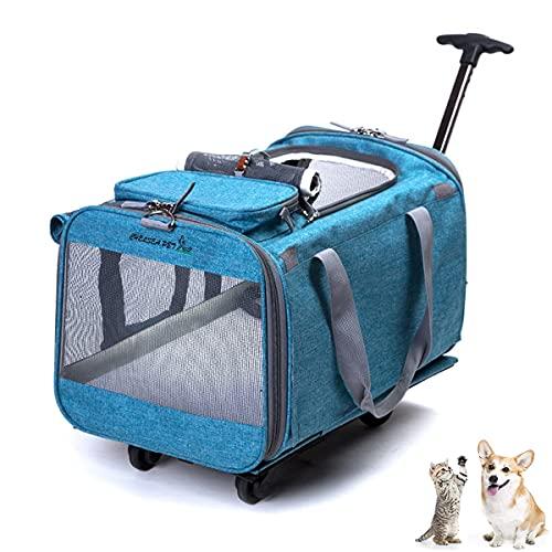 Transportador extraíble de mayor tamaño para perros/gatos, transportador mascotas con ruedas desmontables, transportador plegable para perros con laterales blandos y...