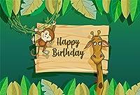 LFEEY 10x8フィート ハッピーバースデー 写真 背景 カートゥーン 壁紙 緑の葉 子供 パーティー バナー キリン モンキー 背景 写真 ブース スタジオ