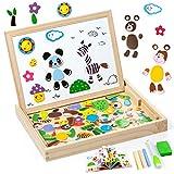 MOOKLIN ROAM Puzzles de Madera Magnético, Animales Rompecabezas Juguetes Bebes, Juguete de Educativos con Madera Tablero de Dibujo de Doble Cara, Puzzles en Caja de Regalo para Niños 3+ Años