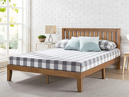 ZINUS Alexia Wood Platform Bed Frame with headboard / Solid Wood Foundation with Wood Slat Support / No Box Spring Needed / Easy Assembly, Rustic Pine, Queen