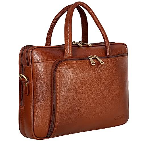 RICHSIGN Leather Accessories 16 pulgadas de cuero portátil mensajero oficina bolsos hombres