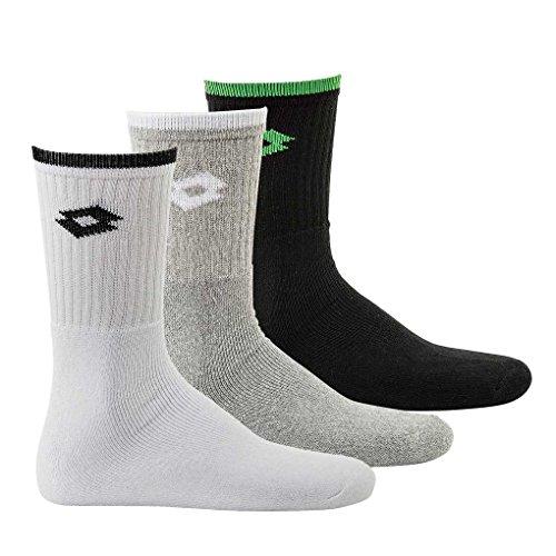 Lotto 3 PAAR Sport Socken, Unisex, Tennis Crew Socks, verschiedene Farben: Farbe: Schwarz/Weiß/Grau | Größe: 39-42 (UK 6-8)