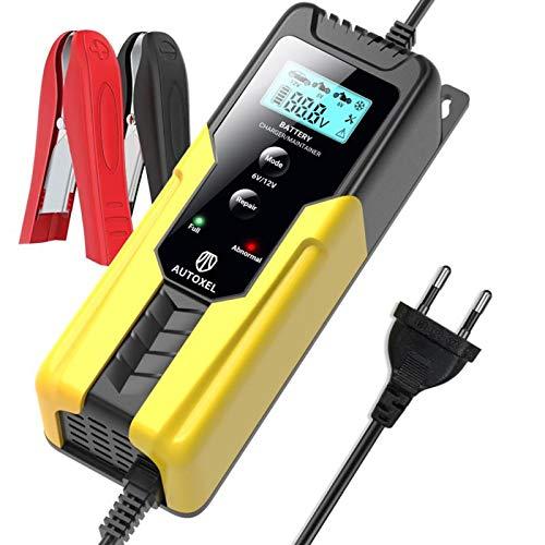 AUTOXEL 6V 2A/ 12V 6A Caricabatterie per Auto Carica Batteria per Batterie AGM Gel MF di Moto, ATV, SUV, Barche a Motore, Tosaerba, Schermo LCD, Multi Protezioni, Riparazione e Mantenitore, 4,5-100Ah