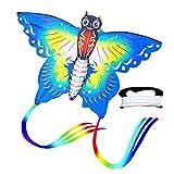 Dettelin Coloridas Cometas de Mariposa con Cometa voladora de Cola Larga para niños, niñas y Adultos, Juegos al Aire Libre, Cometas Easy Flyer, Cometas de Playa