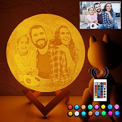 Lampara Luna Personalizada 3D Con Tu Foto Y Texto, USB Recargable 16 colores Control remoto y táctil controlar, Regalos para Novio, Novia, Amigo, Padre y Tu Madre, Moon Light Lamp Diámetro 15 cm