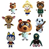 SDFQ 8Pcs / Anime Cartoon Animal Crossing Peluche De Juguete De Peluche Mapache Peluche Perro Animal Muñeca Almohada Oso Juguetes De Peluche 20/30 Niños Cumpleaños