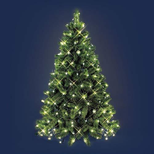 XMASKING Mantello di luci per Albero di Natale 3,8 x h. 2 m, 195 LED Bianco Caldo, Cavo Verde, Decorazione Albero, luci per Albero