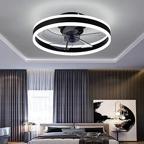 MYJHUIY Ventilador de techo con luz y mando a distancia, lámpara LED de techo, 6 velocidades de viento, regulable, silencioso