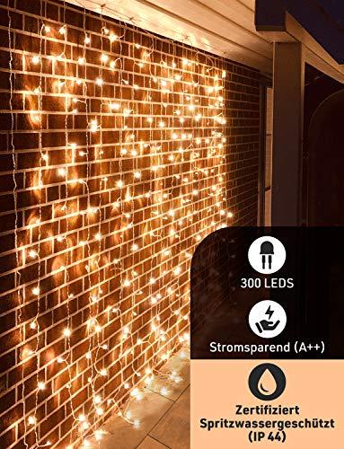 Lichterkette außen und innen 3x3m - Premium LED Lichtervorhang warmweiß - LED Lichterkettenvorhang für Terrasse, Balkon, Partydekoration mit 8 Lichteffekten - Pure Living Wasserdichte Lichterketten