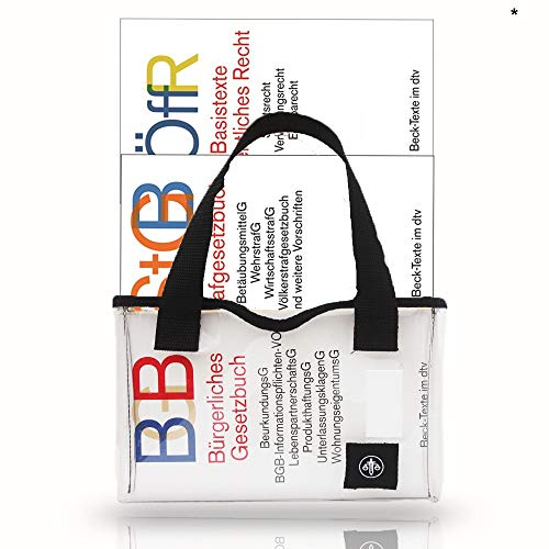 Tasche für Beck\'sche Gesetze| Transparente Einsteckhülle für Beck-Texte aus PVC| für die Universität| ideal für Juristen, Studium und Bibliothek