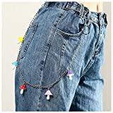 DFGDSF Creative Colorful Resin Small Mushroom Pants Chain Ladies Personality Punk Pendant Waist Chain Accessories