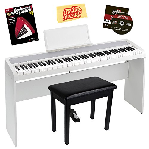 Korg B1 Digital Piano - Black Bundle with STB1 Stand, Furniture Bench, Sustain Pedal, Instructional Book, Austin Bazaar Instructional DVD, and...