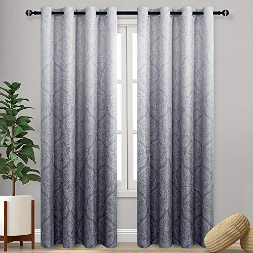 DWCN Ombre Blackout Curtains for Bedroom - Damask Patterned Thermal Insulated Energy Saving Grommet Curtains for Living Room, Set of 2 Gradient Window Curtain Panels, 52 x 84 Inches Long, Grey