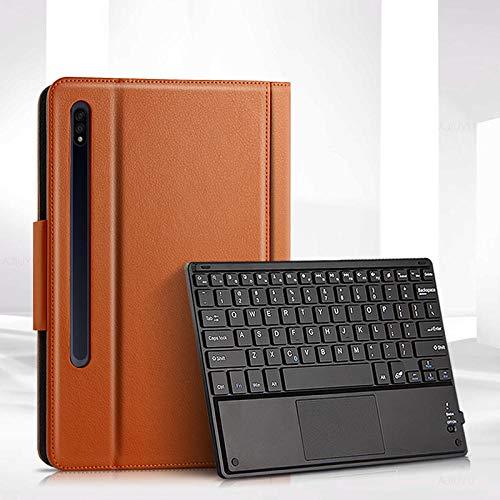 Teclado Bluetooth para Tableta Caso para Samsung Galaxy Tab S7 11 2020 SMT870 T875 Tableta Protector Protector Bluetooth Teclado Bluetooth Portador PU Caja de Cuero Ratón Tablet con Funda