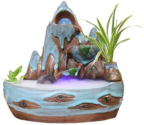 ZKDY Fuente de Interior de Interior de cerámica Stone Mountain Fountain 3 Capas Cascada giratoria Bola decoración de Escritorio Decorativo Fuente de Escritorio Fuente Interior (Color : B)