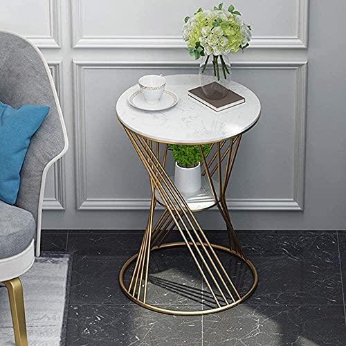 Nido de mesas blancas Tablas de café Tablas laptop Tabla portátil Mármol Redondo Lado Sala de estar Sofá Café 2 Niños Esquina Metal Hierro forjado Dormitorio de la cama ( Color : White , Size : 40cm )